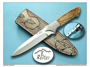 Elliot Reiter Crackle Mammoth Ivory Boot Knife