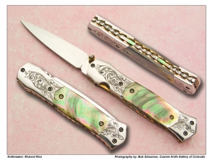 Richard Rice Black Lip Pearl Engraved Folding Dagger